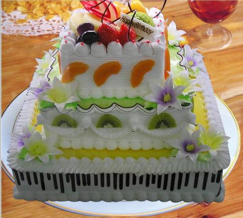 鲜花蛋糕套餐-方形3层鲜奶水果蛋糕