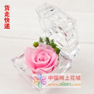 花店-戒指盒保鲜花-粉玫瑰