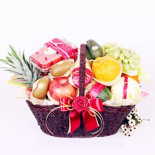 鲜花蛋糕果篮-果篮・清新淡雅
