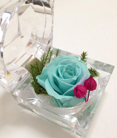 网络订花-戒指盒保鲜花-天蓝玫瑰