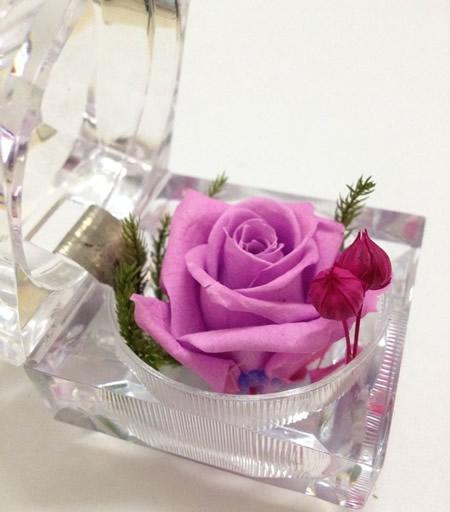 送花-戒指盒保鲜花-浅紫玫瑰