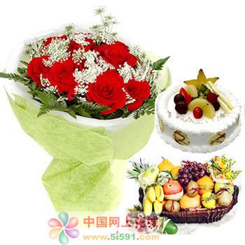 生日鲜花蛋糕-爱上你的那一刻