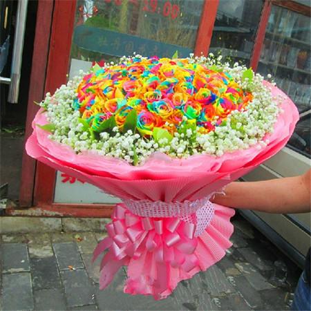 鲜花公司-彩虹玫瑰-美丽相约