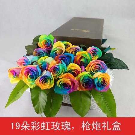 七彩玫瑰-彩虹玫瑰-19支装