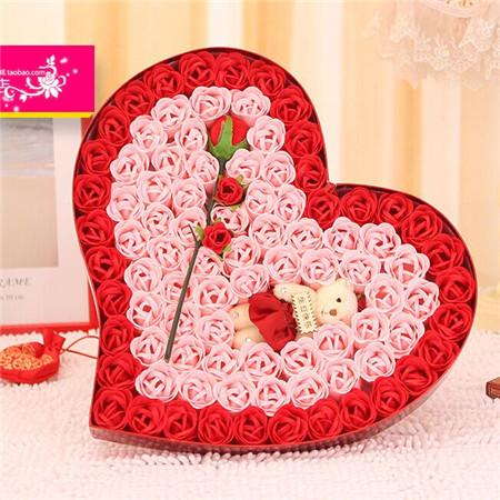 网上订花-92朵红色炫彩小熊