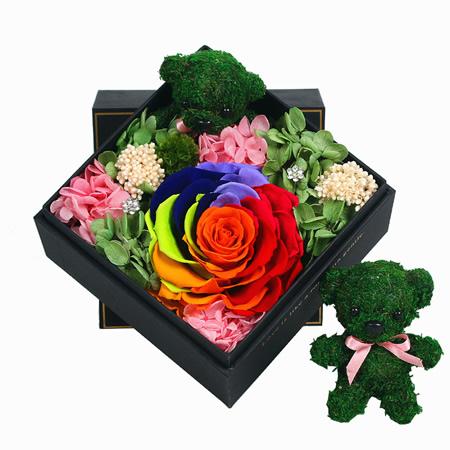 订花服务-保鲜花 彩虹玫瑰B款