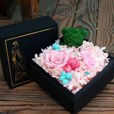 预订鲜花-永生花 3朵粉玫瑰