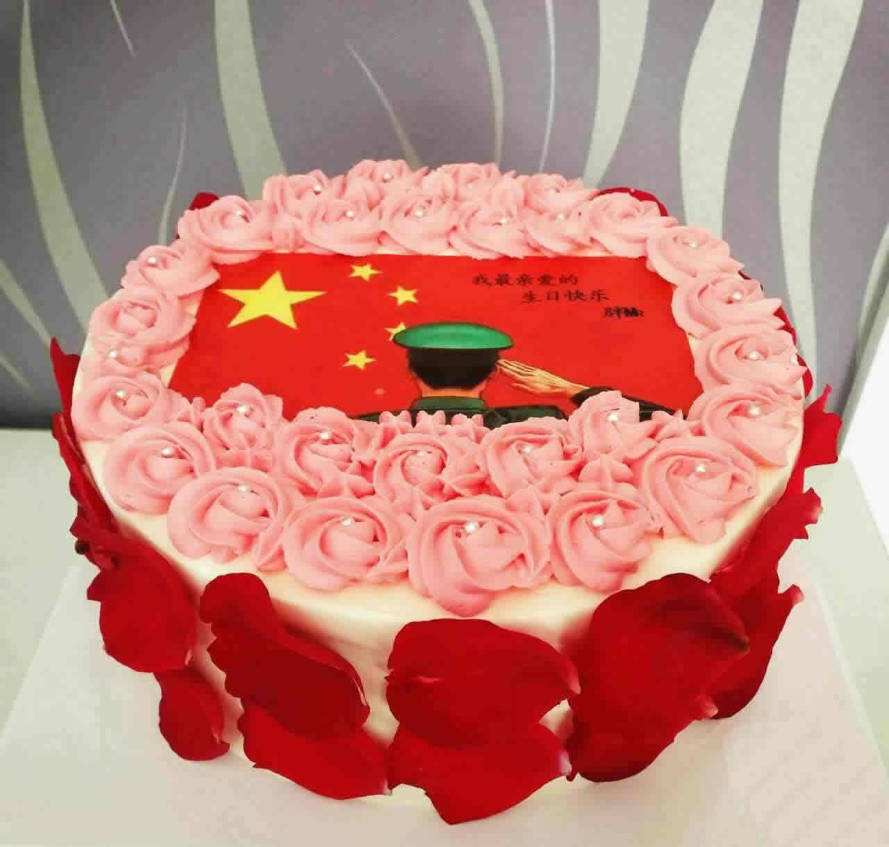 生日蛋糕-红旗飘飘