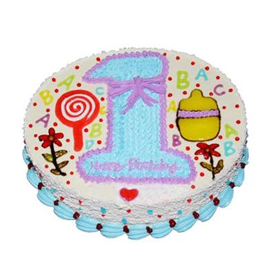 鲜花蛋糕-我1岁啦