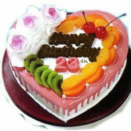 深圳网上订花-心形水果蛋糕