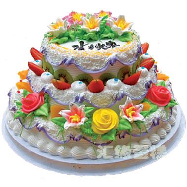 网红蛋糕                                                                                            鲜花网:3层鲜奶水果蛋糕