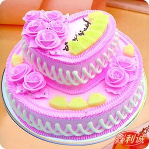 开张花篮订购                                                                                        鲜花网:2层鲜奶蛋糕