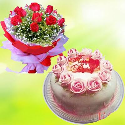鲜花花篮                                                                                            鲜花网:鲜花蛋糕套餐3