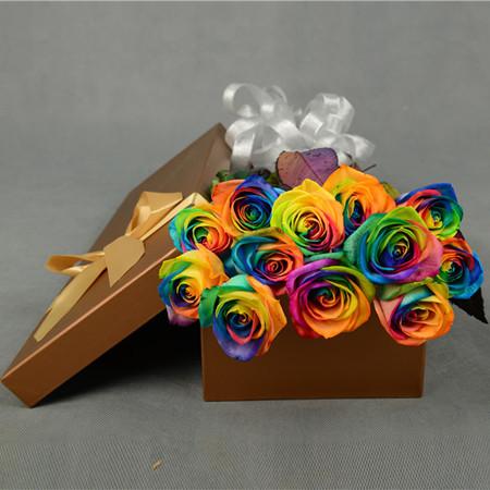 永生花:彩虹玫瑰-多彩多姿