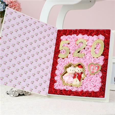 南昌肥皂花:99朵520小熊书