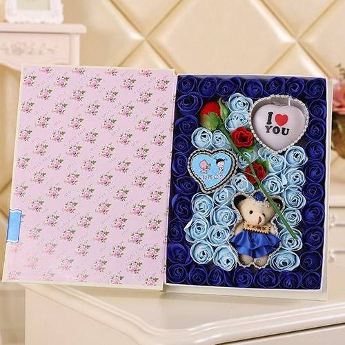 德州肥皂花:香皂花一枝花+小熊 灯 蓝色