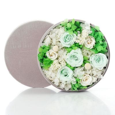 瑞安永生花:圆形绒布礼盒 绿色