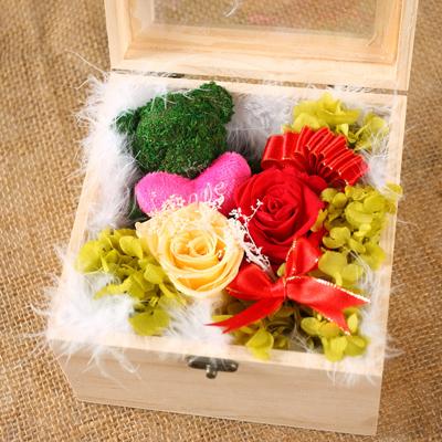 瑞安永生花:保鲜花 苔藓小熊玫瑰