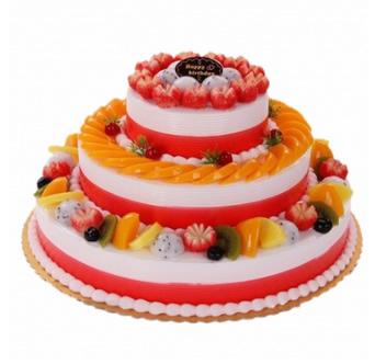 蛋糕订制                                                                                            鲜花网:三层水果蛋糕